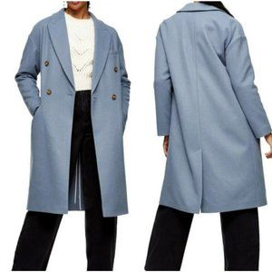 Topshop Brooke Long Double Breasted Coat Blue Size 10 NWT